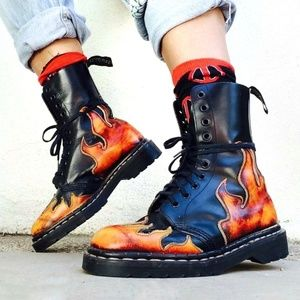 Extremely rare Tredair fire flames grunge boots